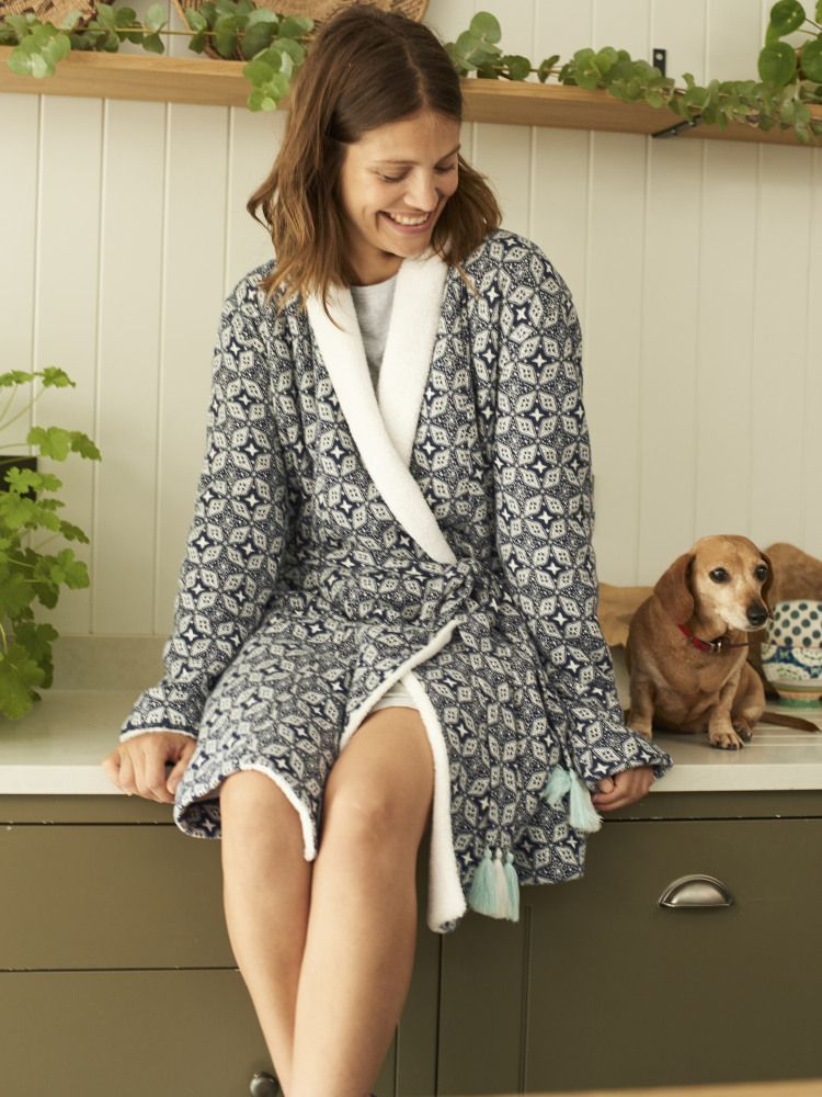 Geostar Fluffy Jacquard Robe | Dressing gown, White stuff and Geo