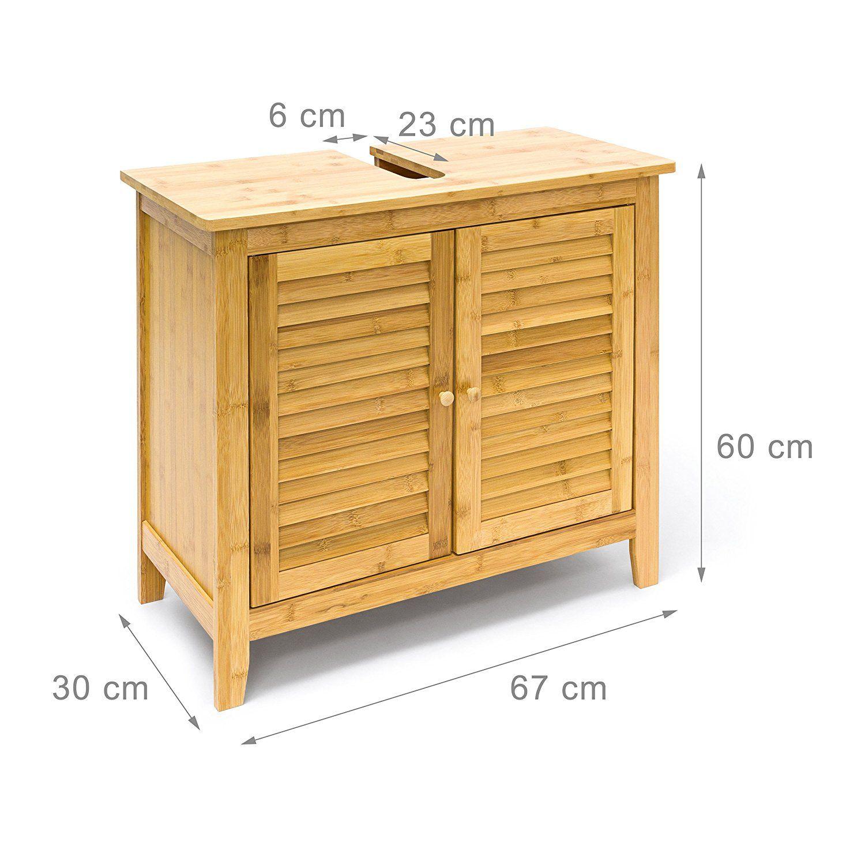 Relaxdays Waschbeckenunterschrank Lamell Aus Bambus H X B X T Ca
