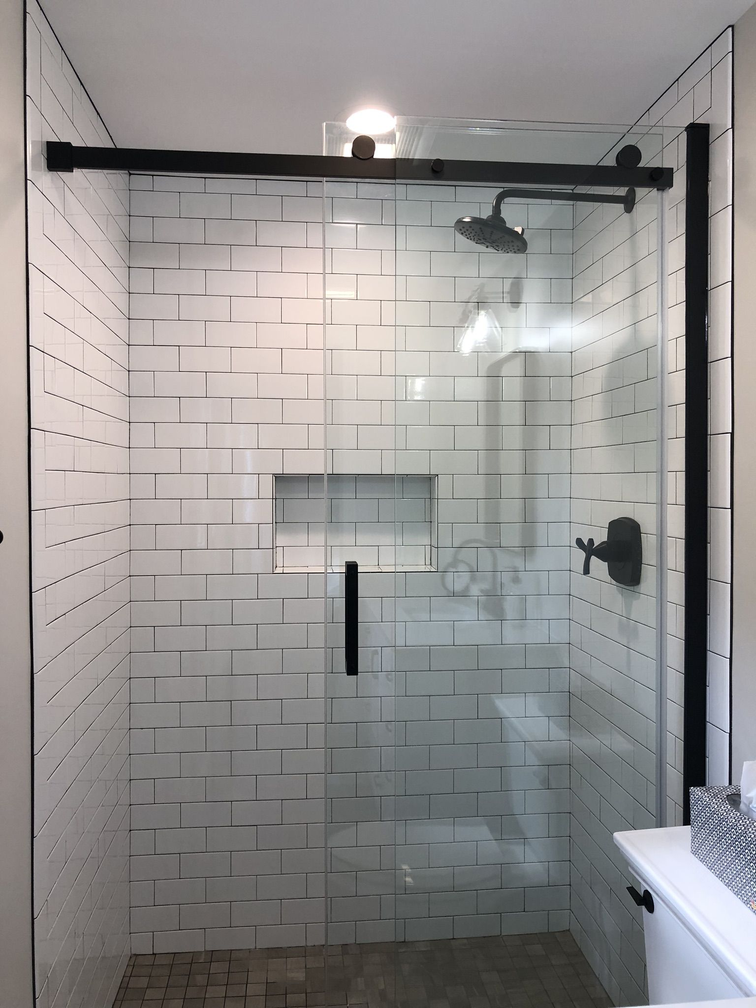 Tiled Walk In Shower Tile Walk In Shower White Subway Tile Shower Small Bathroom
