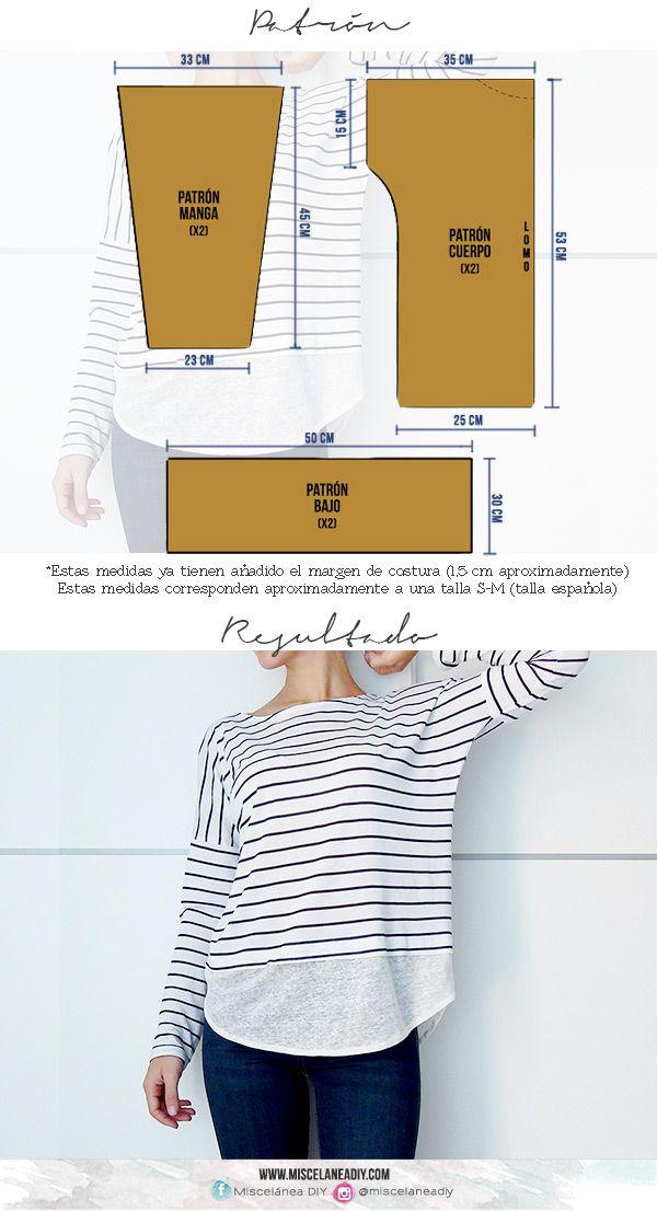 Patrón para hacer esta camiseta de manga larga | Armario | Pinterest ...