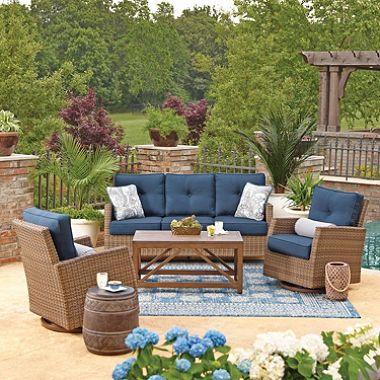 Member S Mark Agio Fremont 4 Piece Patio Deep Seating Set With Sunbrella Fabric Indigo Outdoor Furniture Sets Patio Furniture Sets Outdoor Seating