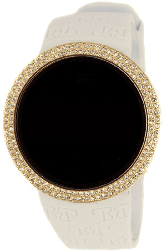 Bling Bling Gold Digital Touch Screen Watch White Band Touch