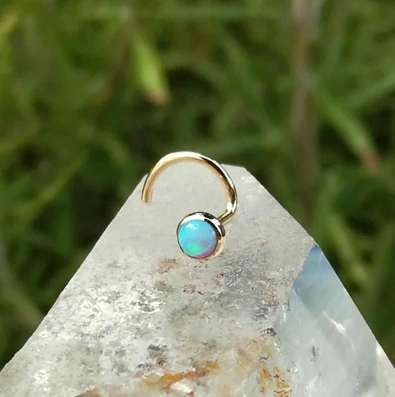 Nose Jewelry Studs Helix Earring Nose Stud 14K Yellow Gold Filled Nose Piercing Tragus Earring 3mm Blue Opal Nose Ring