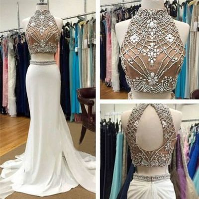 Gorgeous two piece high neck mermaid white long prom dress