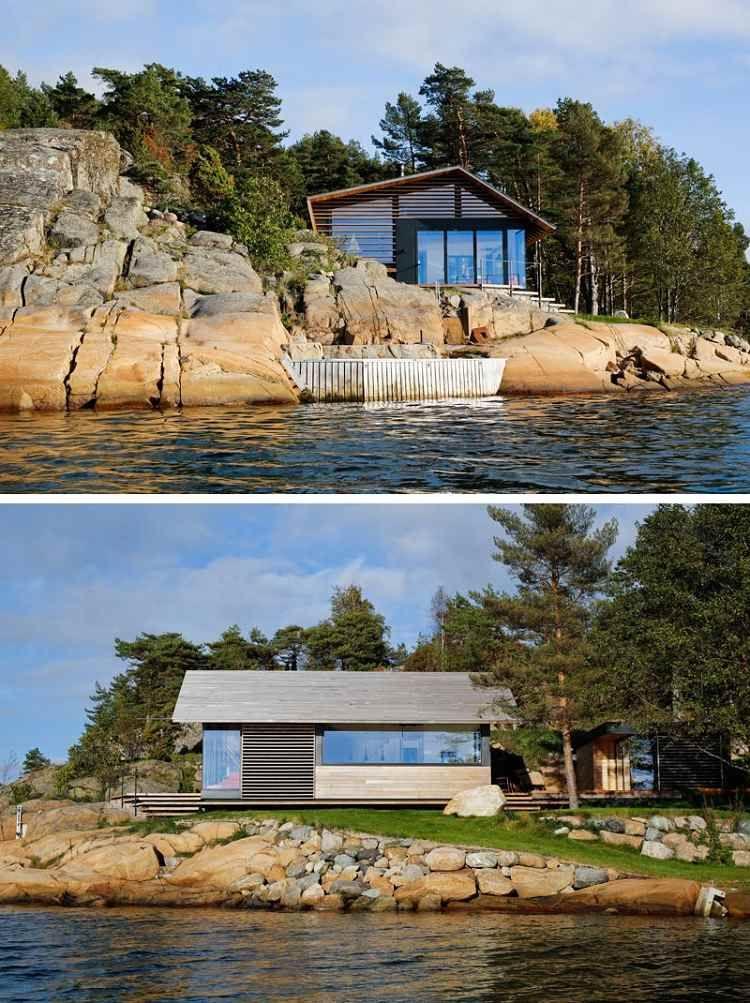 Stores Exterieurs En Bois De Cedre Dans Une Petite Cabane Norvegienne Bardage Bois Exterieur Bardage Et Bois De Cedre