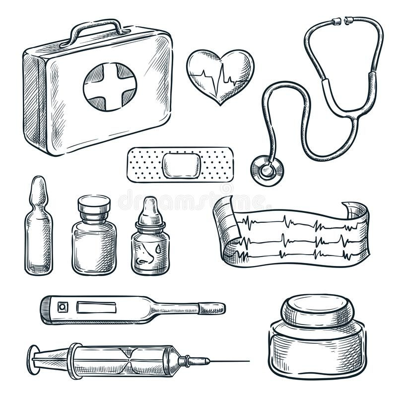 First Aid Kit Sketch Illustration Medicine And Healthcare Hand Drawn Icons And Design Elements Stock Illustrati Hand Drawn Icons How To Draw Hands Drawing Bag