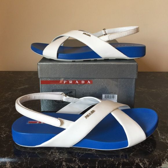 Prada leather sandals size 9 Sport Prada leather sandals.  Size 39, 9US.  Worn just once, just for an hour at the friend's summer party.  Excellent condition.  They are sold everywhere.  Come with the box. Prada Shoes Sandals