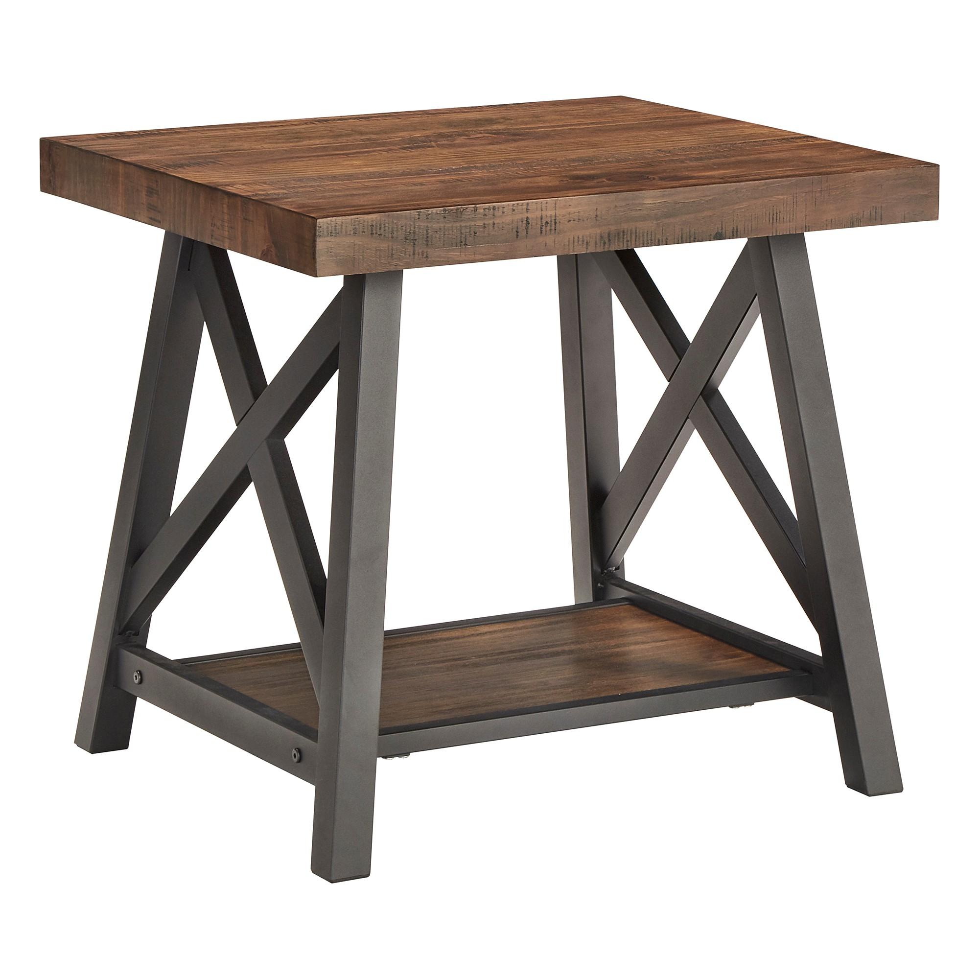 Lanshire Rustic Industrial Metal & Wood End Table Brown