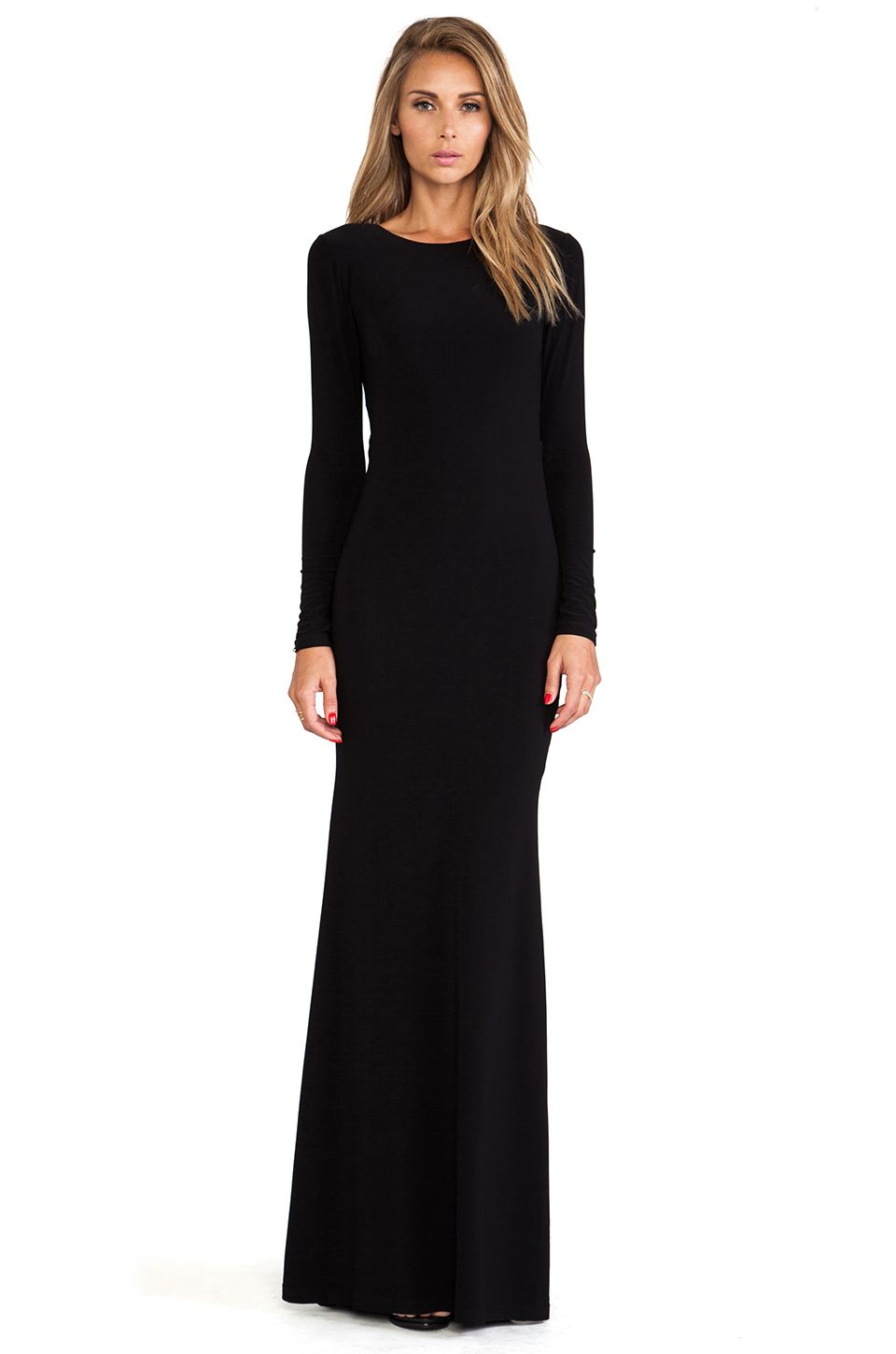Alice olivia long sleeve maxi dress in black revolve my style