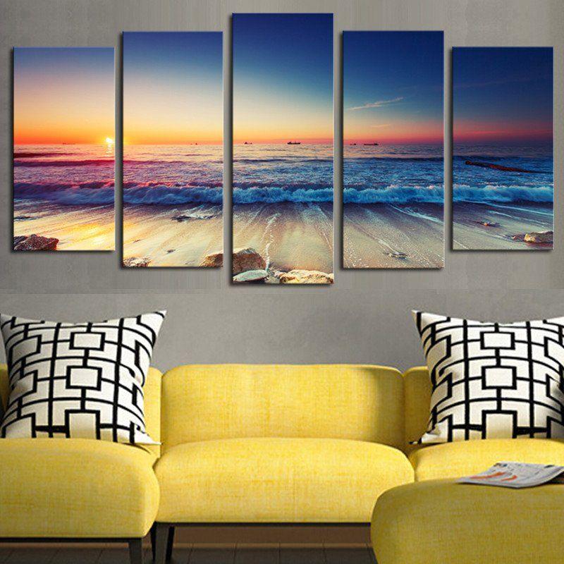 5 Panelsno Framethe Seaview Modern Home Wall Decor Painting Canvas