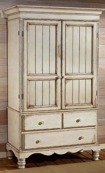 Best Hillsdale Wilshire Bedroom Armoire Antique White With Pine 400 x 300