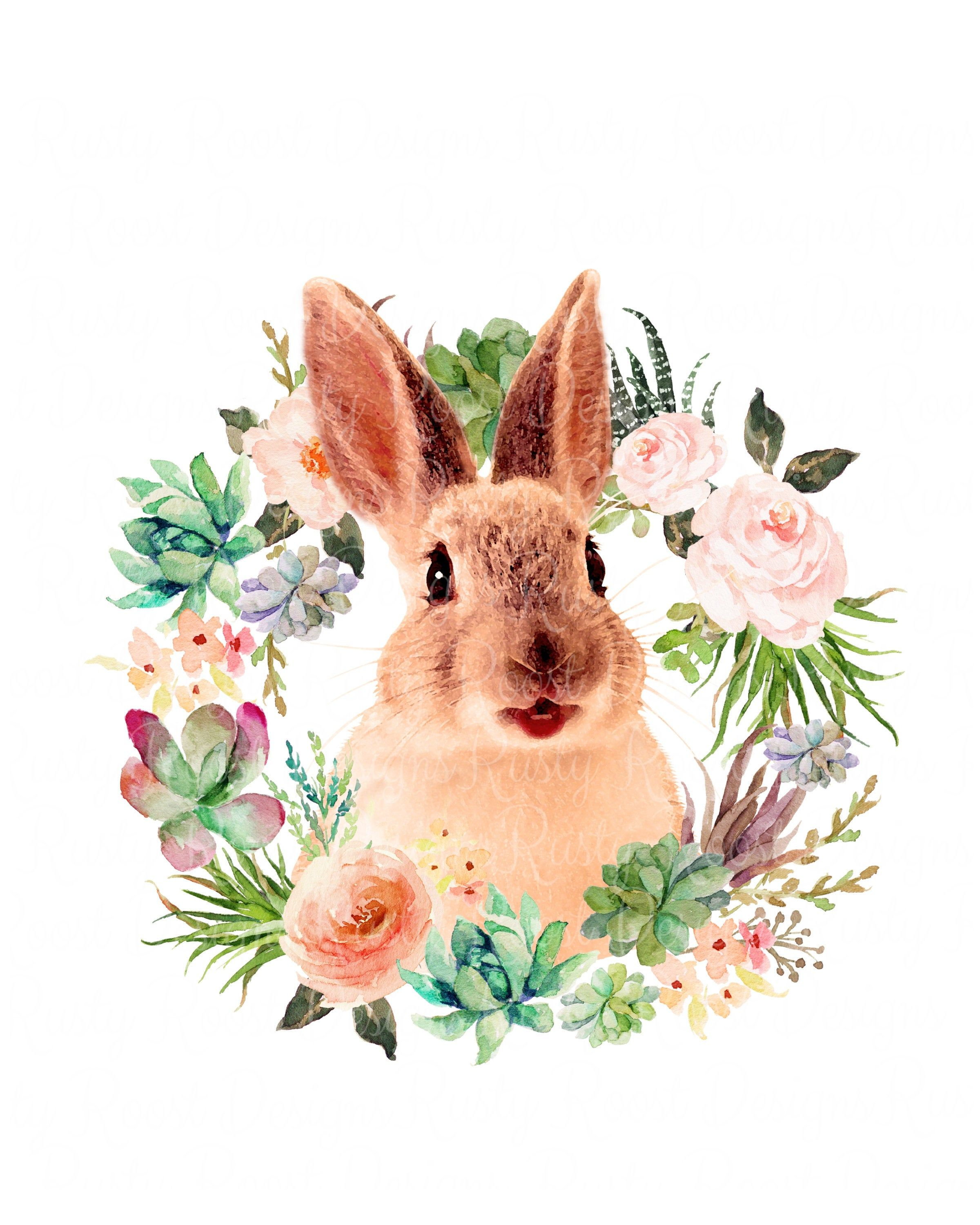 Easter Bunny Png Rabbit Png Sublimation Design Digital Download Bunny Sublimation Design Printable Tshirt Design Floral Watercolor Wreath In 2021 Floral Watercolor Wreath Watercolor Bunny Wreath