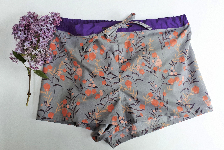 Lilac and Blue Gingham Pom Pom Trim Shorts