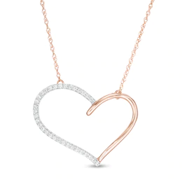 1 8 Ct T W Diamond Heart Outline Necklace In 10k Rose Gold Zales In 2020 Diamond Heart Heart Pendant Diamond Heart Outline