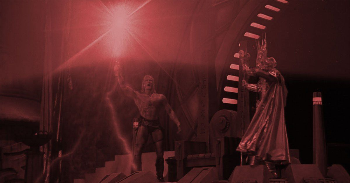 The 'I have the power' scene from one of my biggest guilty pleasures, Masters of the Universe, from 1987. #HeMan #Skeletor