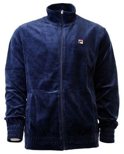 Fila Men's Solid Velour Navy Zip Up Track Jacket Sz: XL