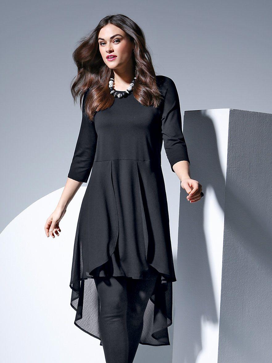 doris streich - jersey-kleid mit 3/4-arm - schwarz | kleider