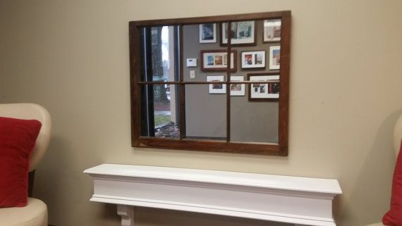 Wood Window Mirror Wood Mirror Window by TheDecorativeCompany  www.thedecorativecompany.com #wndowmirror #woodwindowmirror #woodmirror
