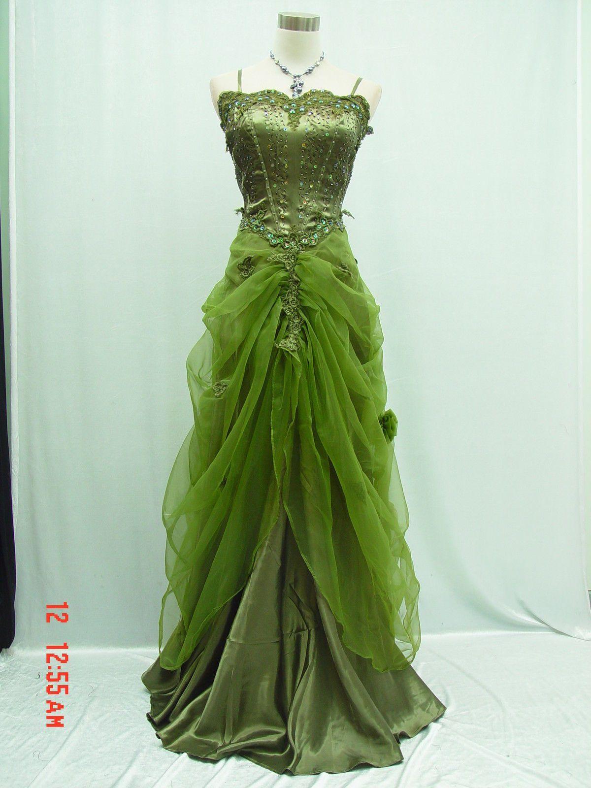 Cherlone Satin Grün Hochzeit/Abend Abendkleid Ballkleid Brautkleid