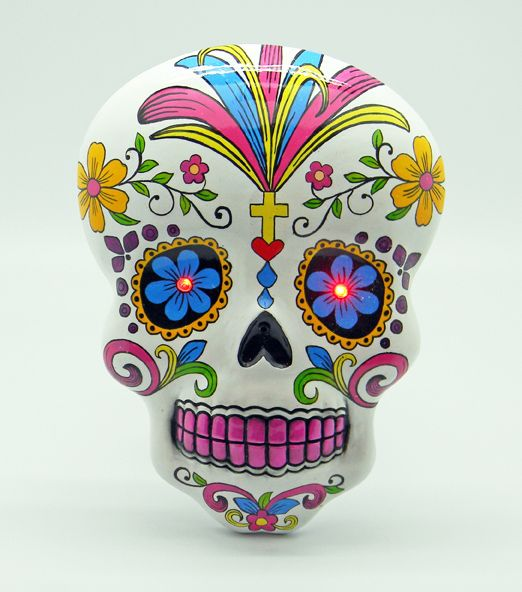 White Day Of The DeadSugar Skull Wall Plaque With LED Eyes Delectable Quips N Quotes