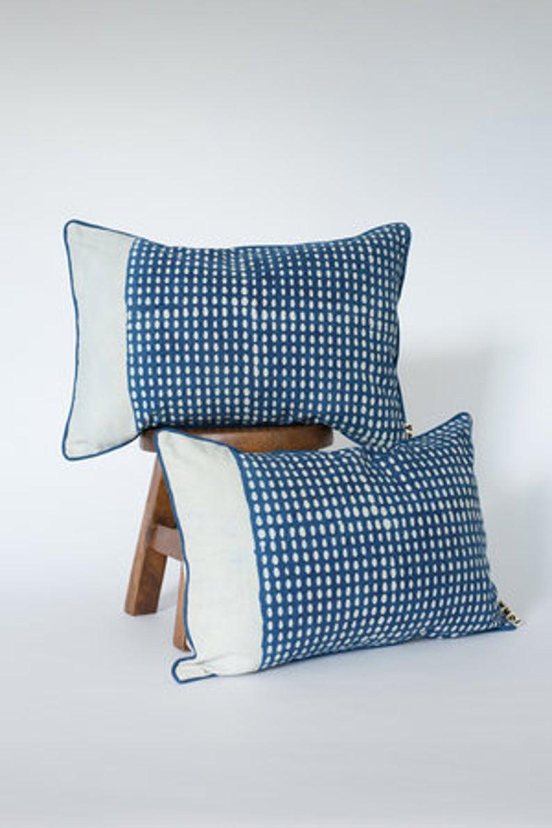 Dappled Lumbar Cushion Cover Natural Dye Hand Block Etsy Blue And White Fabric Decorative Cushion Covers Cushion Cover