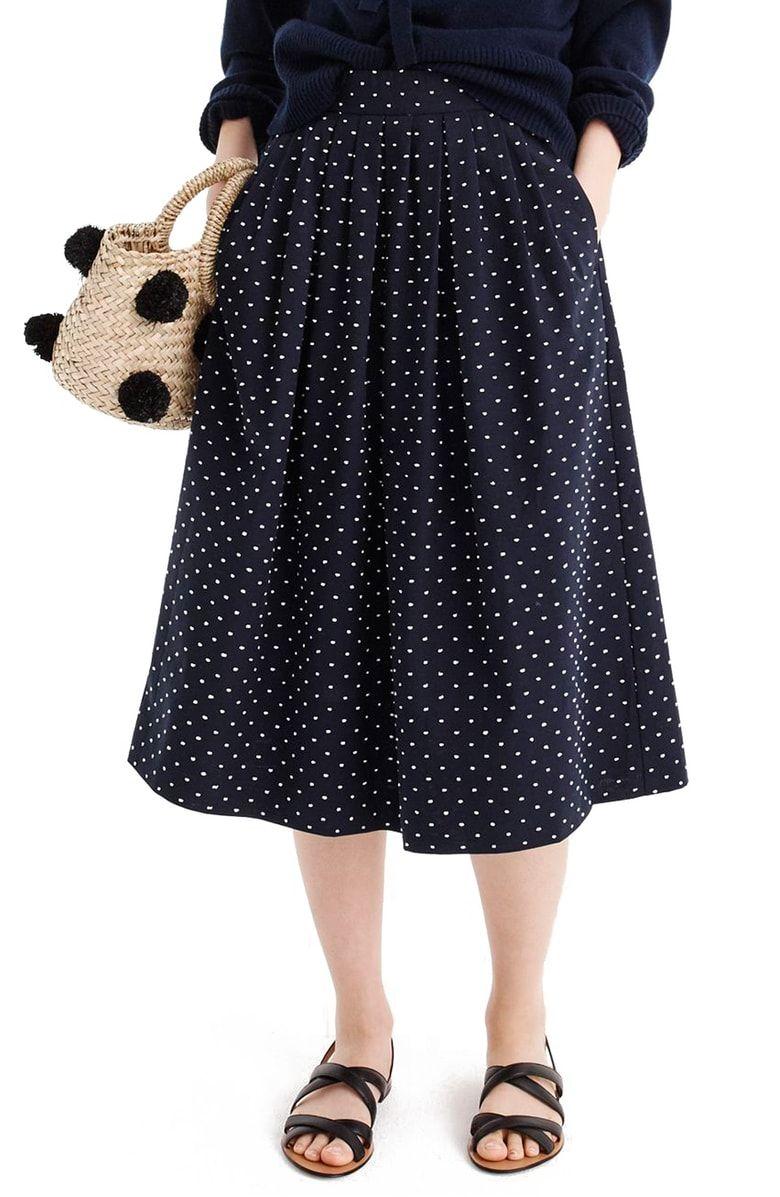 915b6fc92 J.Crew Vintage Clip Dot Midi Skirt, Main, color, Navy White ...