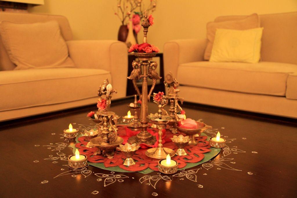 Diwali Lamp Centerpiece.. petals and alpana doilies ...