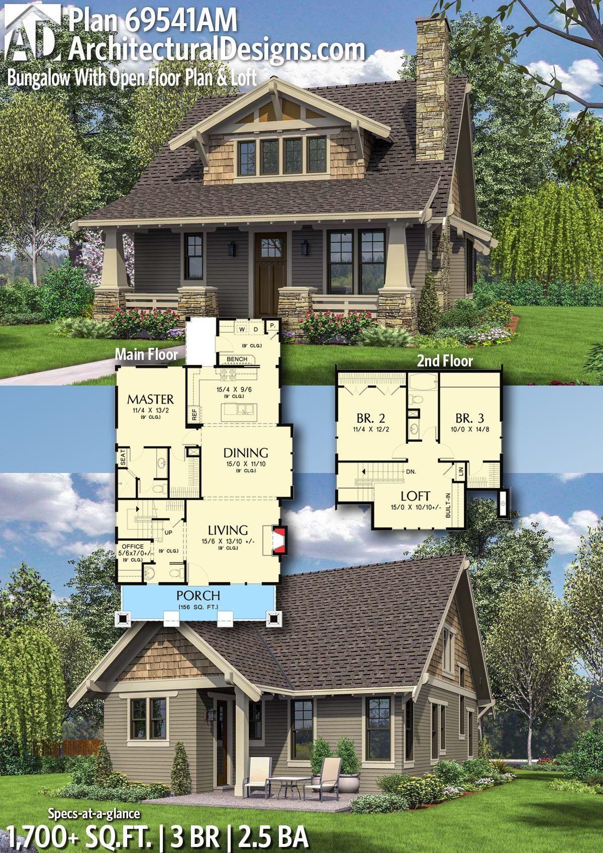 Plan 69541am Bungalow With Open Floor Plan Loft Craftsman House Plans House Blueprints Bungalow House Plans
