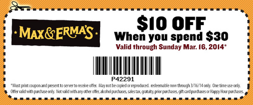 coupon for max and ermas restaurant