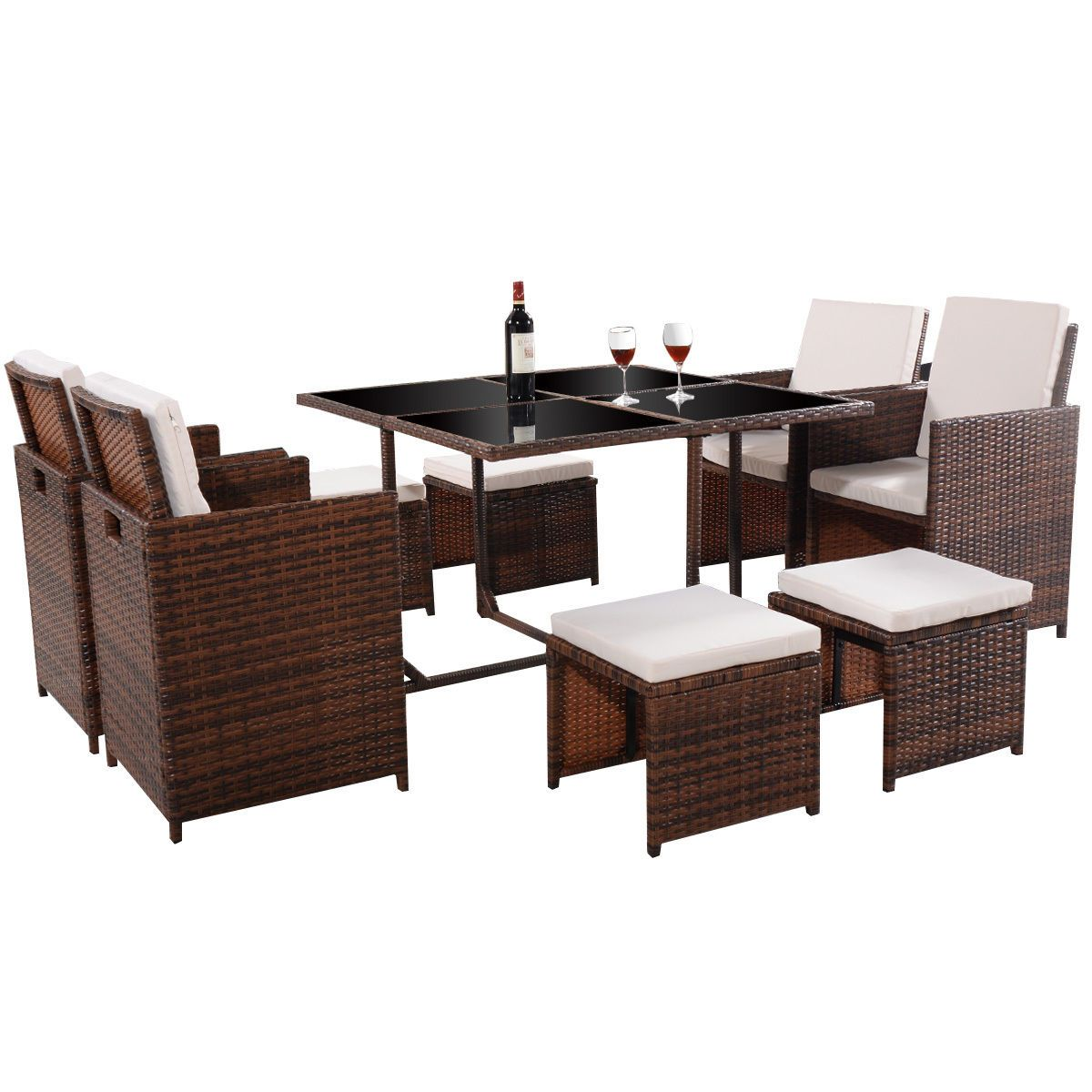 9 PC Mix Brown Patio Garden Rattan Wicker Sofa Set Furniture Cushioned  W/Ottoman