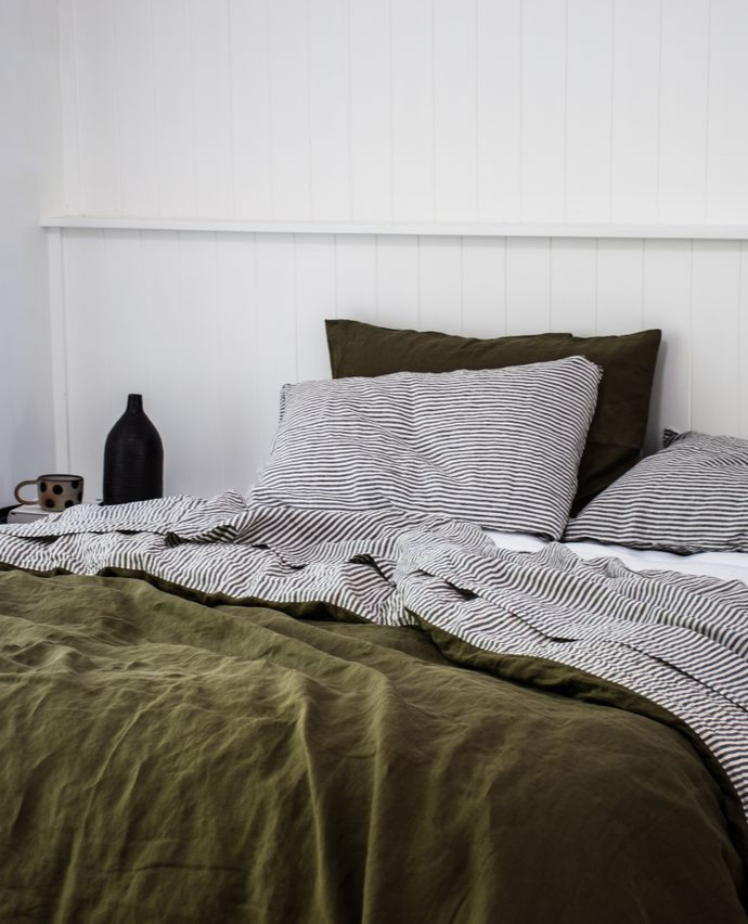 An Autumnal Dream Interior Made Perfect With Our French Flax Linen Bedding In Olive And Charcoal Stripe Bed Linen Design Bed Linens Luxury White Linen Bedding