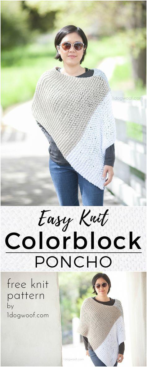 Easy Knit Catalunya Colorblock Poncho   Pinterest   Ponchos y Tejido