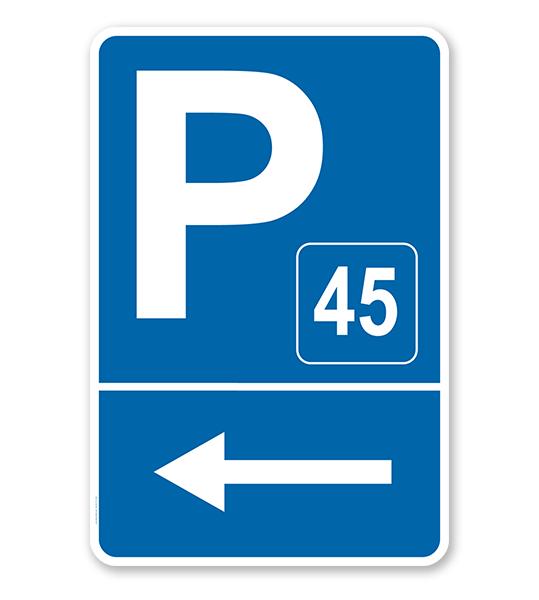 Parkplatzschild Mit Pfeil Links Und Nummerierung