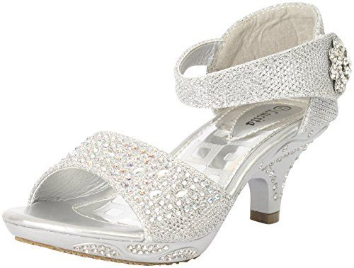 Jan 14KS Baby Girls Rhinestone Heel Platform Dress Sandals Silver ...