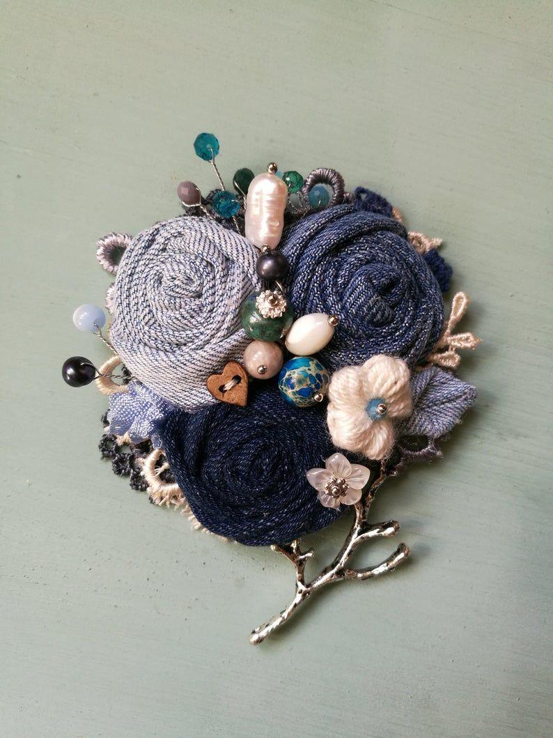 crochet flower pin Denim brooch jeans jewelry textile brooch beaded brooch fabric brooch