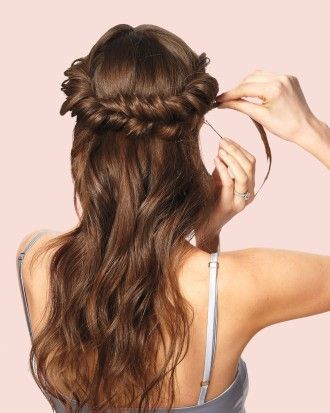 Curl hair part down the middle then each side into 3 sections top wedding hairstyles do it yourself updos for medium hair martha stewart weddings solutioingenieria Gallery