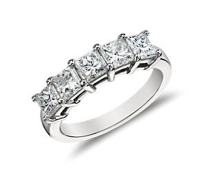 10th Anniversary ring idea. :) Five-Stone Princess-Cut Diamond Ring in Platinum (2 ct. tw.)
