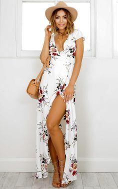 Wrap And Cross Maxi Dress In White Print Produced