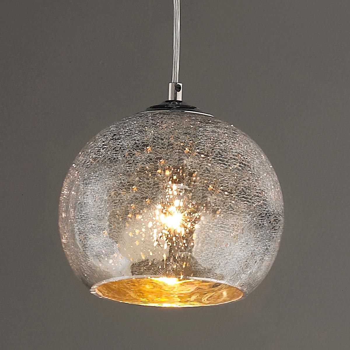 Mini Crackled Mercury Bowl Pendant Light Glass Pendant Light