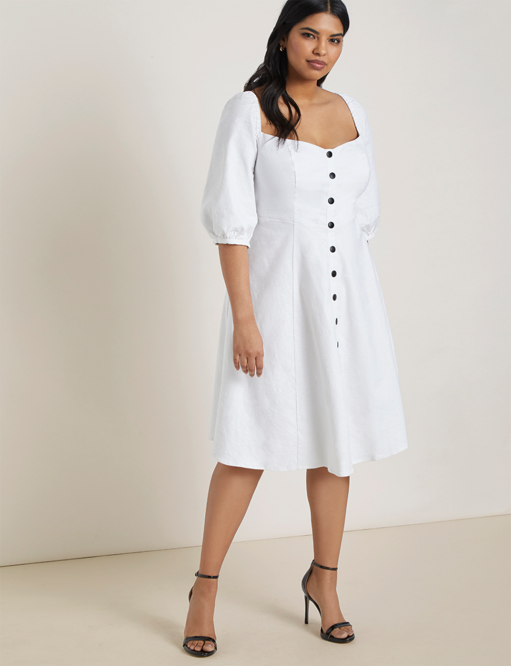 Button Front Puff Sleeve Dress Women S Plus Size Dresses Eloquii Plus Size Spring Dresses Plus Size Outfits Puffed Sleeves Dress [ 1304 x 1000 Pixel ]