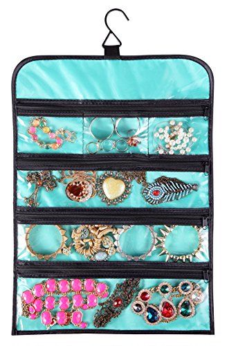 WODISON Hanging Jewelry Roll Bag Organizer Travel Earring