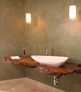Floating Redwood Counter With Hanging Lights  Portfolio Adorable Bathroom Design Seattle 2018