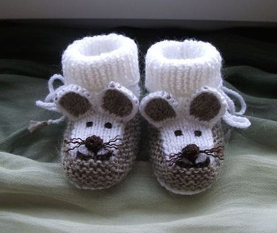 Knitted baby booties,mouse baby booties,baby boy booties,baby girl ...