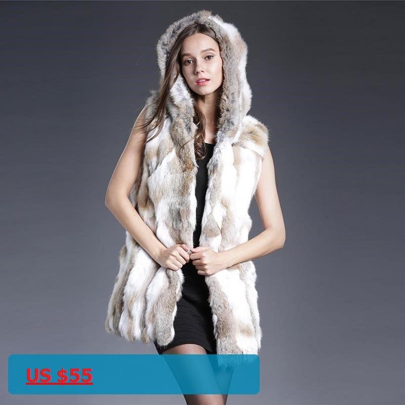 a82274c3232 2017 New Genuine Rex Rabbit Fur Vest With Hooded Real Silm Rabbit Fur  Waistcoats Winter Rabbit Fur Jacket Plus Size