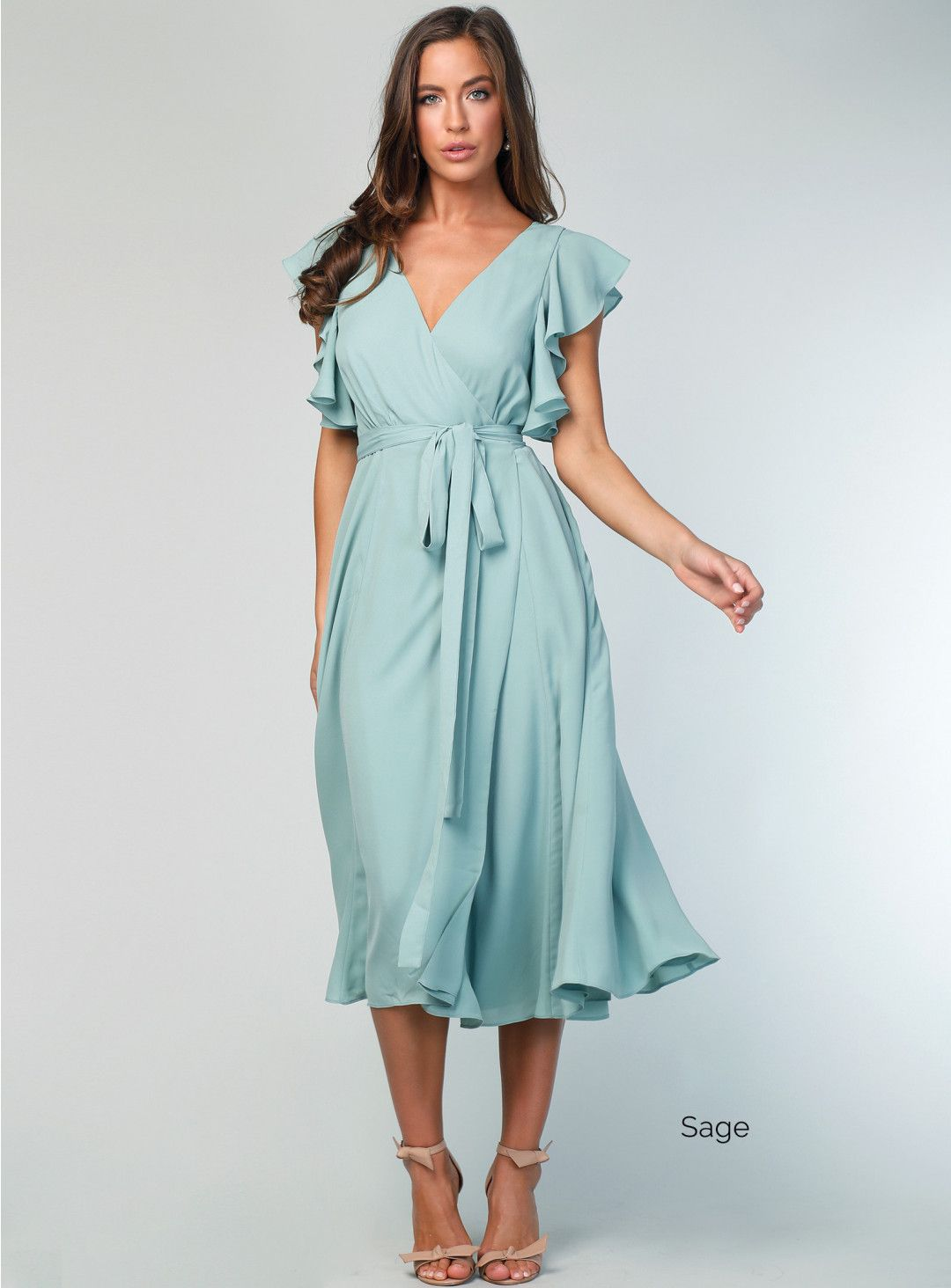 8fd9e0c035d6 Samantha Rose Flutter Sleeve Midi Skirt. Fitted and Flared Wrap Dress with Flutter  Sleeves.