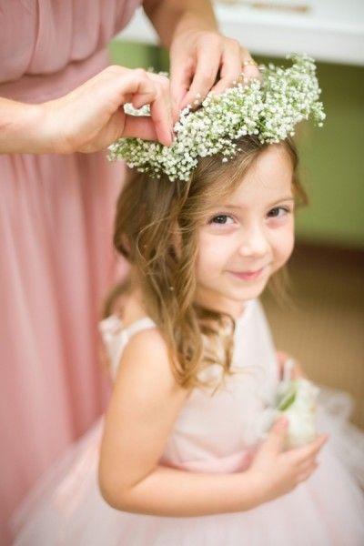 afa0cd773 Really love the simplicity of baby breaths as a headdress for the flower  girl