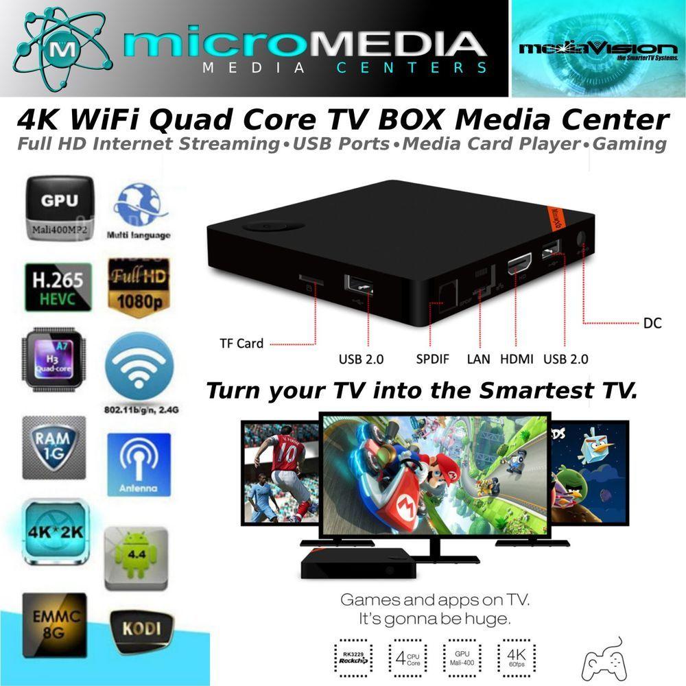 4K Wifi Quad Core Smart TV Box- 3D 1080HD XMBC Miracast Chromecast DNLA #MediaVision