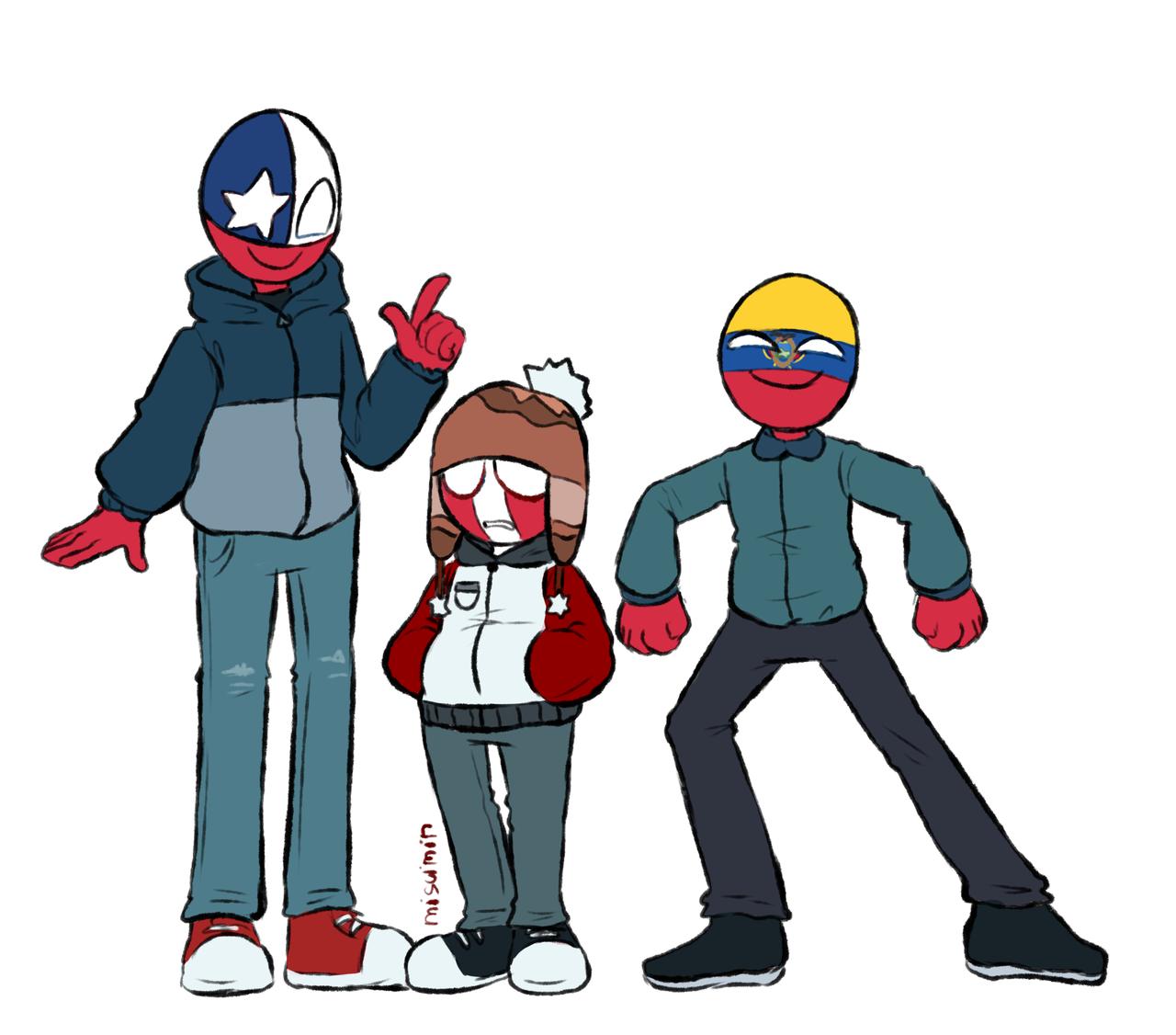 Chile Peru Ecuador Countryhumans By Tiramisuq Tumblr Mario Characters Fictional Characters Lat
