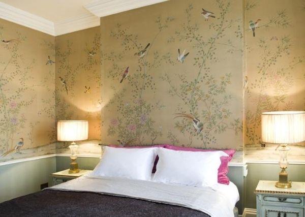 beige seidentapeten vgel schlafzimmer chinesische blumenmuster - Tapete Schlafzimmer Beige