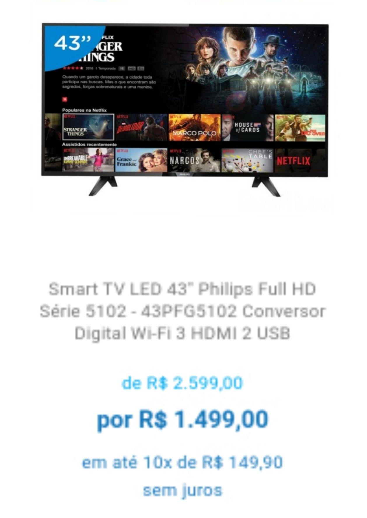 Smart TV Philips 43PFG5102 Série 5102  Com imagem Full HD